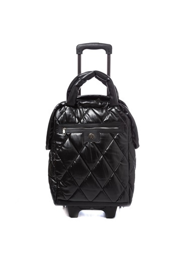 TH Bags TH Bags 2THCW2020079 Kabartmalı 2 Bölmeli Fermuarlı Kadın Valiz Siyah